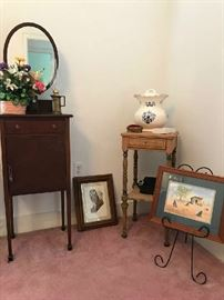 Mahogany dressing stand, pictures, small table