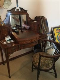Beautiful ladies desk with matching chair, inlaid wood