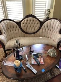 Custom, tufted, vintage Queen Anne style sofa.