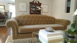 Custom, tufted mohair sofa with mohair frill.