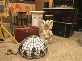 Tiffany Style Light, leather suitcase,  Elephant