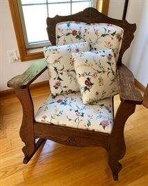 Antique Oak an Upholstered Rocker