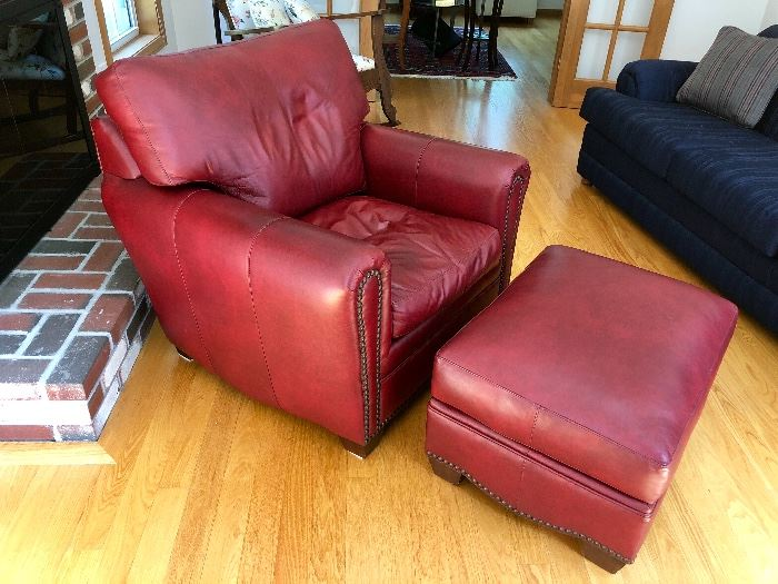 Such a pretty color! Leather arm chair and ottoman with Nail Head Trim by Classic Leather