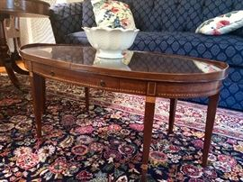 Marquetry inlaid, protective glass top, one drawer - dainty coffee table.