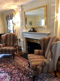 Beautiful Oriental Rug with Ethan Allen Upholstered Chairs