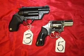 3 - Taurus the Judge revolver 45/410, 5- Ruger SP101 revolver 357