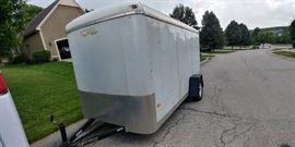 6' x 12 ' Enclosed Cargo Trailer with Side Door and Rear Barn Door Style