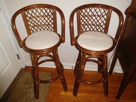 Rattan swivel bar stools