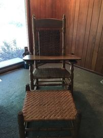 Oak rocker and ottoman with woven seat and back
