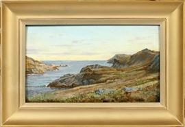"""WILLIAM TROST RICHARDS (AMERICAN, 1831-1913), OIL ON PARTIALLY BEVELED WOOD PANEL, 1905, H 8 7/8"""", W 15"""", SHORE SCENE Lot # 2007"""