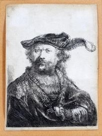"""REMBRANDT VAN RIJN (DUTCH, 1606–1669), ETCHING ON LAID PAPER, PLATE SIZE: H 4"""", W 5 1/4"""", """"SELF PORTRAIT IN A VELVET CAP WITH PLUME"""", 3RD STATE Lot # 2032"""