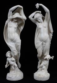 """AFTER MATHURIN MOREAU, CARVED ALABASTER ALLEGORICAL FIGURES, C. 1880-1900, PAIR H 25 1/2"""" & 26 1/4"""", """"NIGHT AND DAY"""" Lot # 2047"""