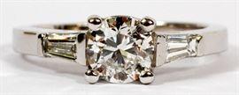 .90CT ROUND DIAMOND (GIA) & .36CT BAGUETTE DIAMOND RING, SIZE 6.25, TW: 6.7 GRAMS Lot # 2080