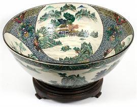"CHINESE, GREEN & WHITE PORCELAIN BOWL, H 9"", DIA 21 1/2"" Lot # 2331"