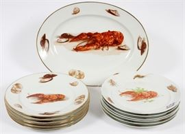 JKW BAVARIA PORCELAIN LOBSTER PLATES AND PLATTER, SEVEN, PLUS SIX FRENCH LOBSTER PLATES, THIRTEEN PIECES TOTAL Lot # 1247