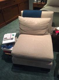 Linen upholstered slipper chair (20
