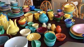 Variety of California pottery:  Vernon, Bauer, Fiesta, etc.