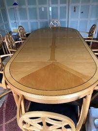 Lutyens Expandable Dining table.  Birdseye maple top.