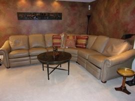 Leather sectional - (coffee/end table/lamp/horses not for sale)