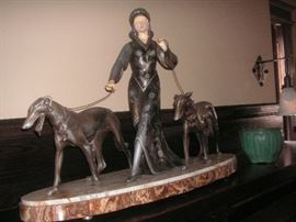Antique Art Deco spelter lady with whippet dogs/marble base
