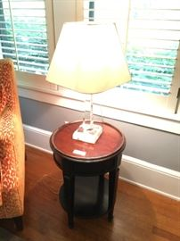Side table with glass lamp