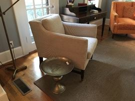 Side table, Lee Jofa upholstered chair, area rug, writing desk, tension pole lamp