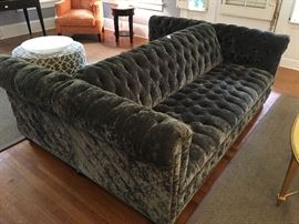 Unique Drexel tufted velvet two bench sofa