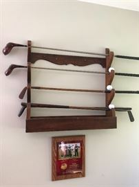 Vintage Hickory Golf clubs - Gun rack - with Civil war muskets (not shown but for sale)