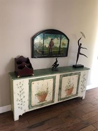 Handpainted Charming cottage credenza.  Bronze statue dancing in the rain by B or S Harmon in 1971