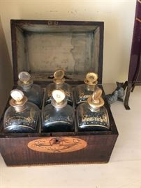 6 Tantalus  Decanters in Original Case 1780.   purchased in England in 1971 - with original bill of sale.