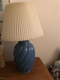 Blue porcelain table lamp.