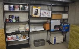 Metal shelves.  Perfect for basement or garage.  Shelf contents not included.