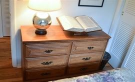 High quality double dresser matches desk and night table and shelves with cabinet.  Table lamp with silver base for sale.