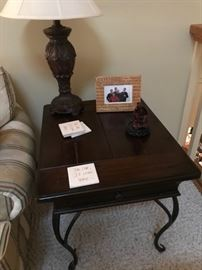 Wood/ wrought iron end table