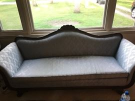 Antique Queen Anne-style sofa with nice, neutral upholstery