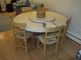 Retro round kitchen table with center lazy susan