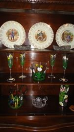Hand Painted wine glasses and vases