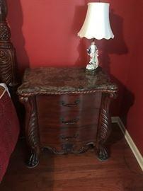 Marble top mahogany night stand