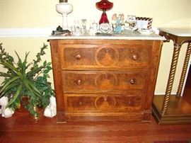 Marble top 3 drawer chest, circa 1870