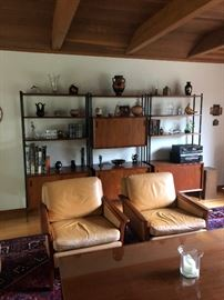 Leather Accent Chairs, Shelving Unit, Home Decor, & Electronics