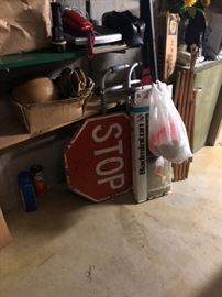 Garage Items & Stop Sign