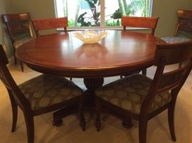 "Ethan Allen walnut dining room; 56' round pedestal table with 20"" leaf & 6 carved upholstered side chairs"