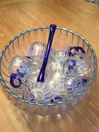 """Duncan & Miller """"Radiance"""" vintage blue punch bowl, 12 cups & ladle"""