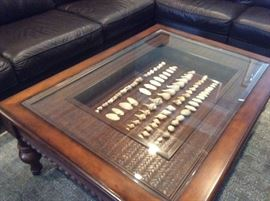 Haverty's wood coffee table with custom shadow box & glass top (shells not included)