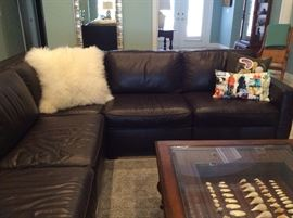 West Elam dark brown leather sectional