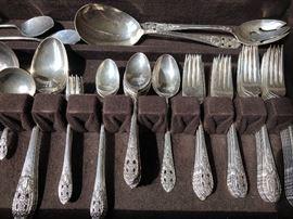 """Antique Fine Arts """"Crown Princess"""" 98  piece sterling silver flatware set"""