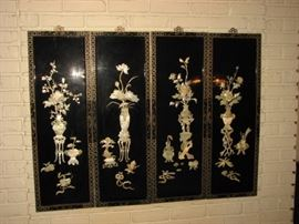 4 panel chinoiserie screen with jade and stone embellishments