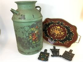 . Italian Tray, Vintage Milk Can, & Cast IronTrivets        http://www.ctonlineauctions.com/detail.asp?id=745243