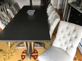 Restoration Hardware Zinc Top and Reclaimed Wood Base Trestle Table
