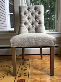 Restoration Hardware Plush Tufted Dining Chairs with Nail Head Trim